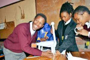 Learners assembling a project during Winter School