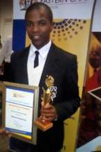 Vuyolwethu received an award for top performance