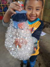 Bubbles with recyclable material
