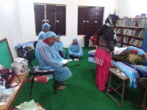 Cataract patients lined up for surgery