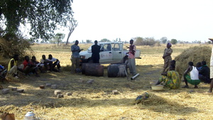 Members of KOSGUELBE (Tilo group) gathering straw