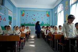 Students in one of schools receiving scholarships