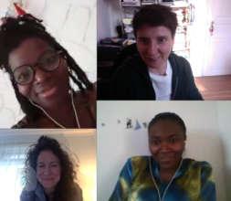 Laurence, Helene, Gaelle, Jen (also Seyni & Diaby)