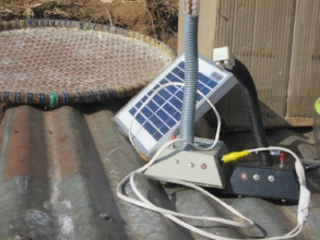 solar lamp being charged