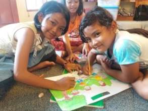 While the girls enjoy coloring activity
