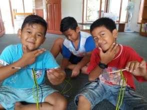 The boys enjoy Art&Craft activity