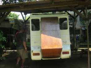 Using the truck to haul furniture for the Centre