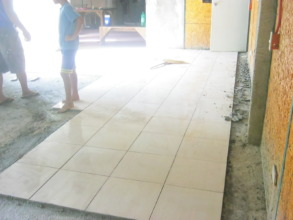 Tiles being laid to protect the busiest areas
