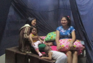 A Banaba family sheltering from typhoon Mangkhut