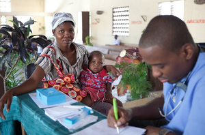 Mother and Child Receive Healthcare
