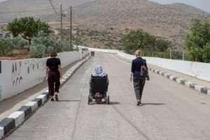 Tamsin & Donna walk w Mayor Haj Sami in Al Aqaba