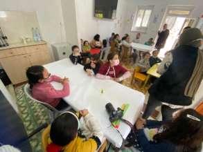 Preparing to create Pinwheels for Peace