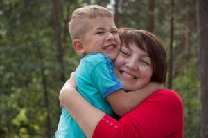 Emergency fosterer Liubov Yashchuk with Zhenia*