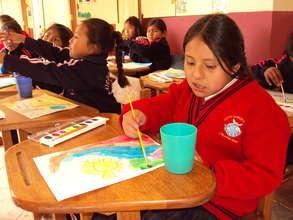 Art student doing her assignment