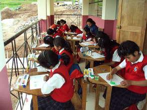 Outdoor art class on the second floor terrace