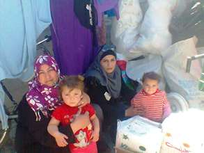 Family who received essentials such as diapers.
