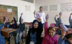 A school hygiene awareness session run by RI staff