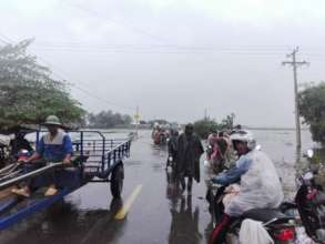 Flooded roads in Battambang province.