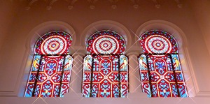 Stained glass in Arquetopia's new music studio