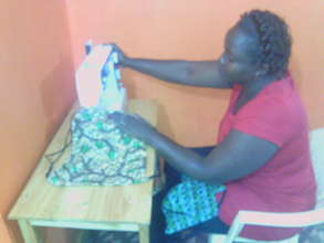 Peninna - Our coordinator making re-usable pads