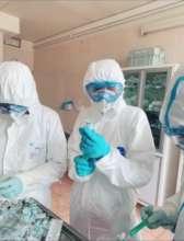 Katya in coronavirus hazard gear