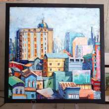 Oil painting of the city