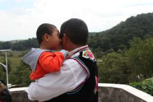 Child and foster parent in Kunming, China