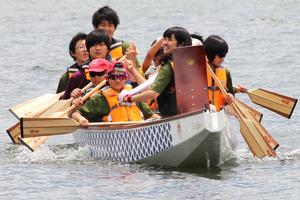On our own dragon boat at Lake Inawashiro