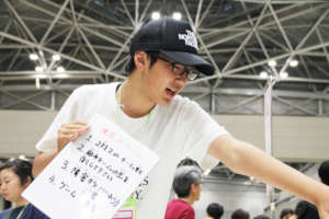 High-school student leading the exhibition