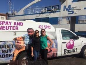 The Baark! van travels on the ferry