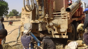Drilling of one of the hand pumps