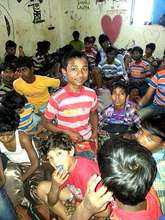 A group of rescued children from a factory