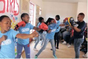 Boxgirls showing their skills to community