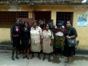 Women receiving welfare packages
