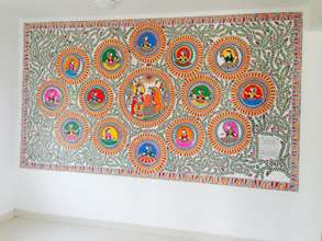 One of the Madhubani paintings in the prayer hall