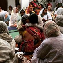 Widows in warm embrace at Maitri Ghar