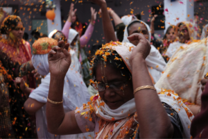 Widow Mother rejoicing on Holi..!
