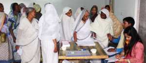 Widows line up for routine health check up