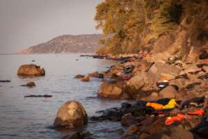 The shore in Lesbos | Photo courtesy of IsraAID