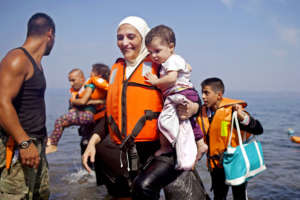 Refugees arrive in Greece