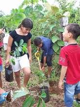 Children reforesting