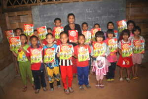 Some of the younger students with their new books