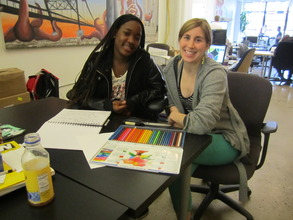 Amirah and her mentor Kate working on her project.