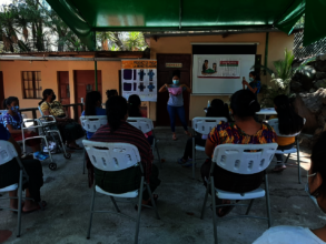 Vilma teaching how to use reusable menstrual pads
