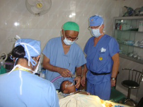 Burn patient receiving corrective surgery