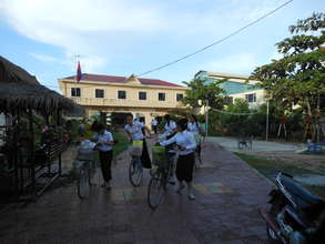 Children using the bicycles we donated last year