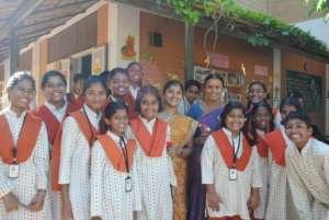 Girl students at Isha Vidhya school