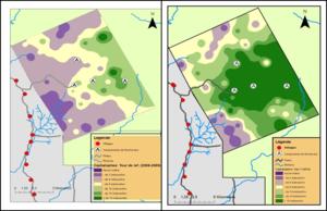 Spatial repopulation of duikers (2008-2013)