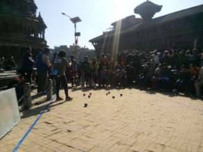 children playing boccia