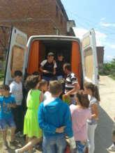 Children gather to choose their books